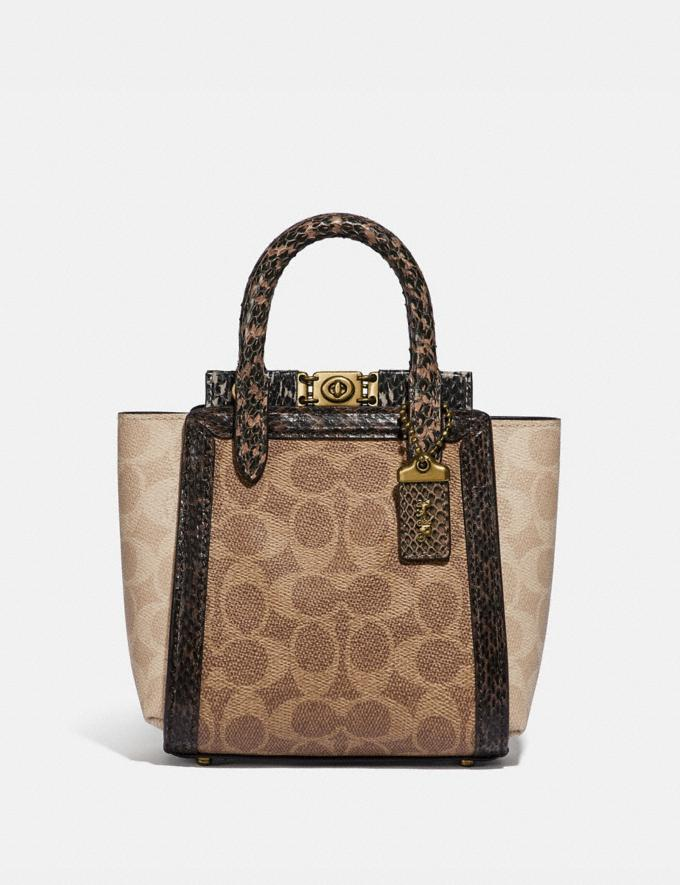 Coach Troupe Tote 16 in Signature Canvas With Snakeskin Detail B4/Tan Sand Women Bags Satchels