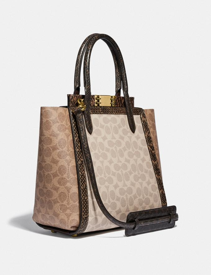 Coach Troupe Tote in Signature Canvas With Snakeskin Detail Brass/Tan Sand New Featured Signature Styles Alternate View 1
