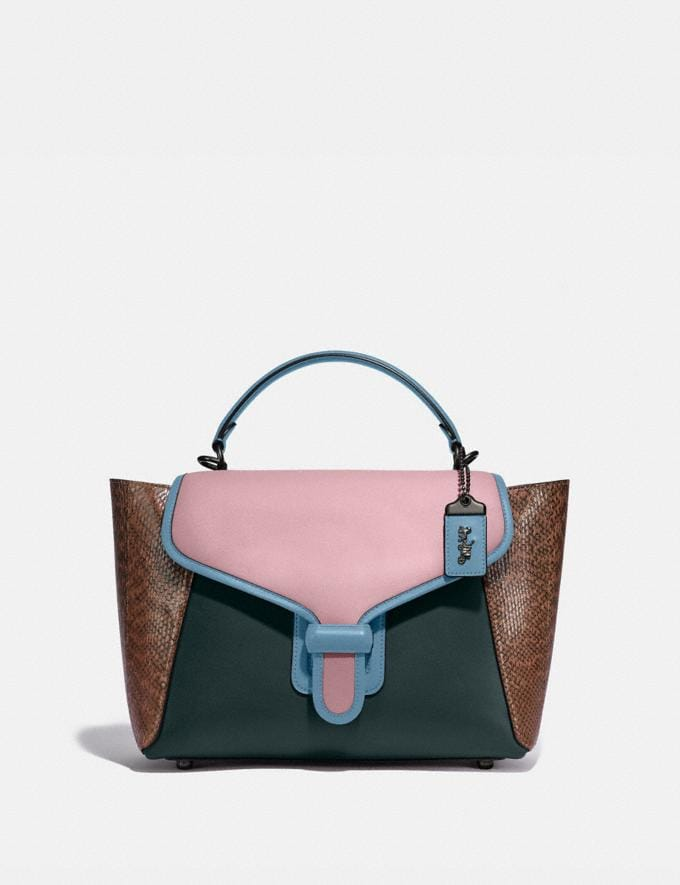 Coach Courier Carryall With Snakeskin Detail Pewter/Pine Green/Aurora Multi New Women's New Arrivals Collection