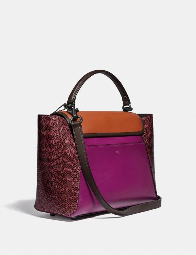 Coach Courier Carryall With Snakeskin Detail Pewter/Hibiscus Multi New Women's New Arrivals Collection Alternate View 1