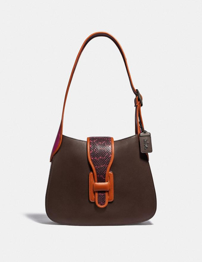 Coach Courier Hobo With Snakeskin Detail Pewter/Hibiscus Multi Women Bags Shoulder Bags