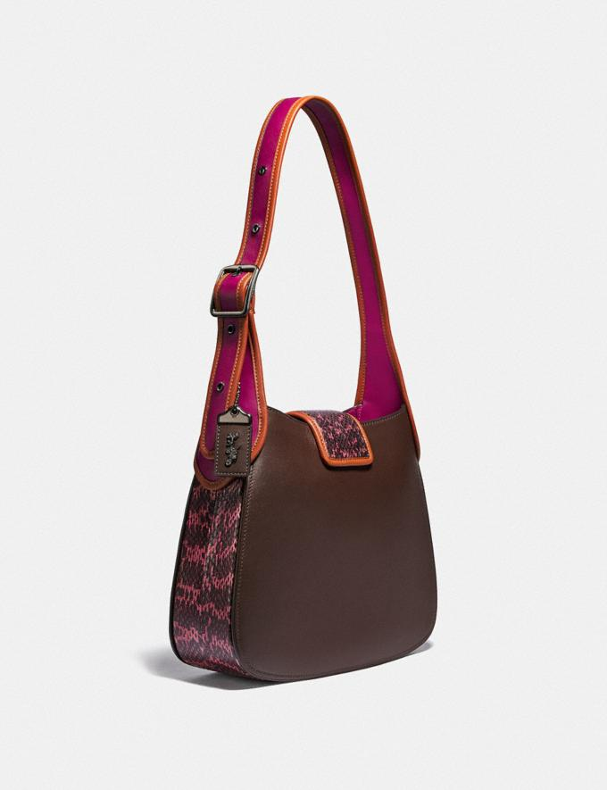 Coach Courier Hobo With Snakeskin Detail Pewter/Hibiscus Multi Women Bags Shoulder Bags Alternate View 1
