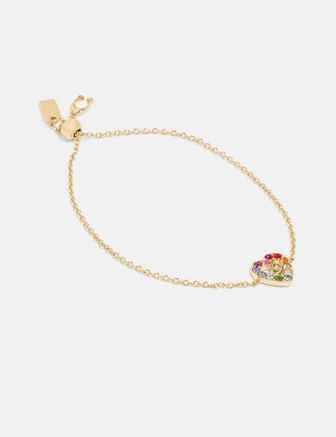 Coach Rainbow Pave Sculpted Signature Heart Slider Bracelet Gd/Multi New Featured Coach Pride Collection