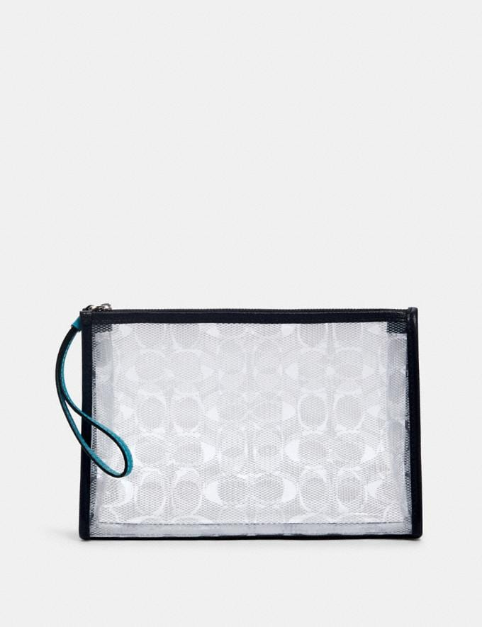 Coach Beach Clutch in Signature Clear Canvas Sv/Clear/ Midnight