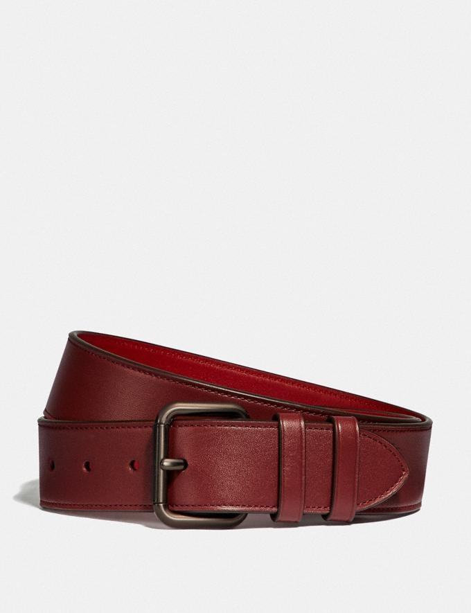 Coach Roller Buckle Belt, 38mm Wine/Dark Cardinal Men Accessories Belts