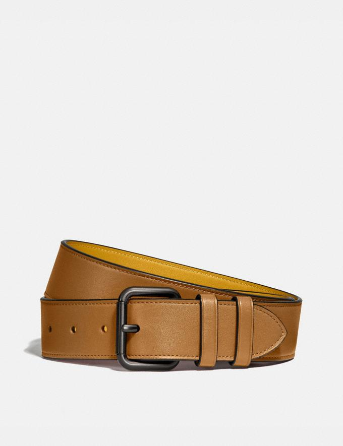 Coach Roller Buckle Belt, 38mm Light Toffee/Flax Men Accessories