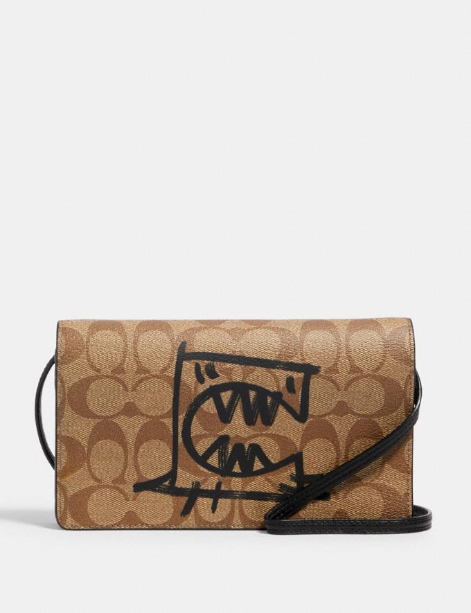 Coach Anna Foldover Crossbody Clutch in Signature Canvas With Rexy by Guang Yu Qb/Khaki Black Multi