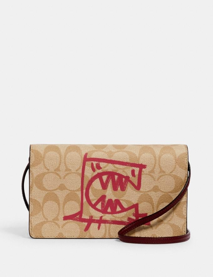 Coach Anna Foldover Crossbody Clutch in Signature Canvas With Rexy by Guang Yu Sv/Lt Khaki/Elctrc Pink Multi Bags Bags Clutches