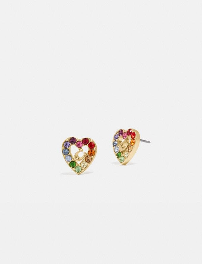 Coach Rainbow Pave Sculpted Signature Heart Stud Earrings Gd/Multi Nuevo Destacado Colección Orgullo de Coach