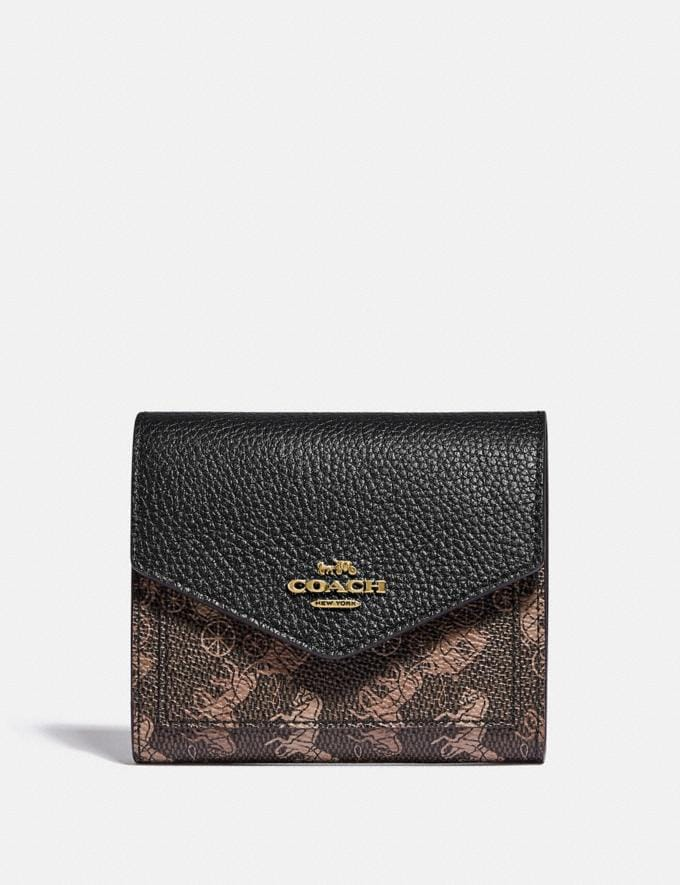 Coach Small Wallet With Horse and Carriage Print Brass/Black Brown Gift For Her Under €100