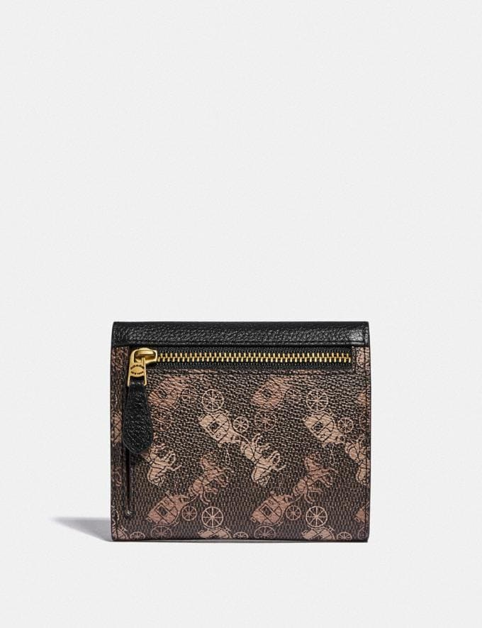 Coach Small Wallet With Horse and Carriage Print Brass/Black Brown Gift For Her Under €100 Alternate View 1