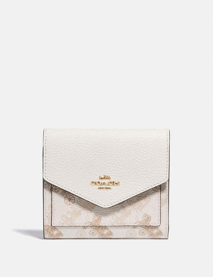 Coach Small Wallet With Horse and Carriage Print Brass/Chalk Taupe Gift For Her Under €100