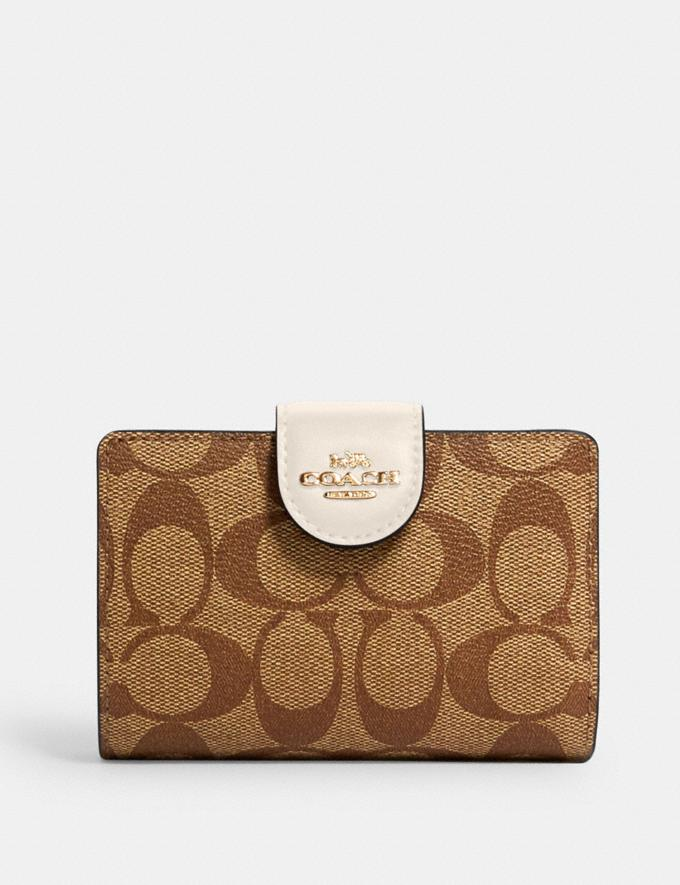 Coach Medium Corner Zip Wallet in Signature Canvas Im/Brown 1941 Red DEFAULT_CATEGORY