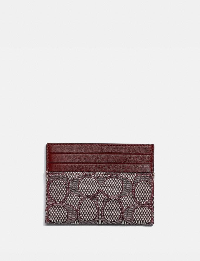 Coach Card Case in Signature Jacquard B4/Burgundy Blk Cherry