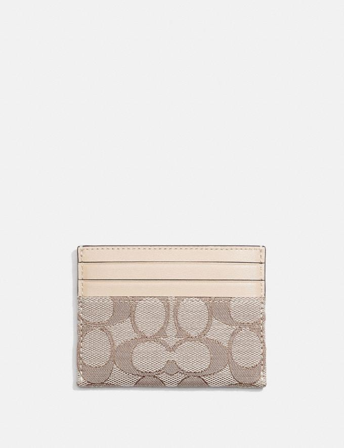 Coach Card Case in Signature Jacquard Brass/Stone Ivory Gifts For Her Under £150