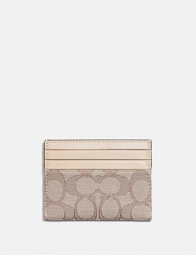 Coach Card Case in Signature Jacquard Brass/Stone Ivory Gifts For Her Under £150 Alternate View 1