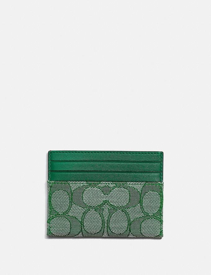 Coach Card Case in Signature Jacquard B4/Green/Green DEFAULT_CATEGORY