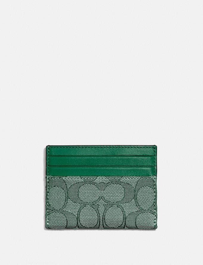 Coach Card Case in Signature Jacquard B4/Green/Green DEFAULT_CATEGORY Alternate View 1