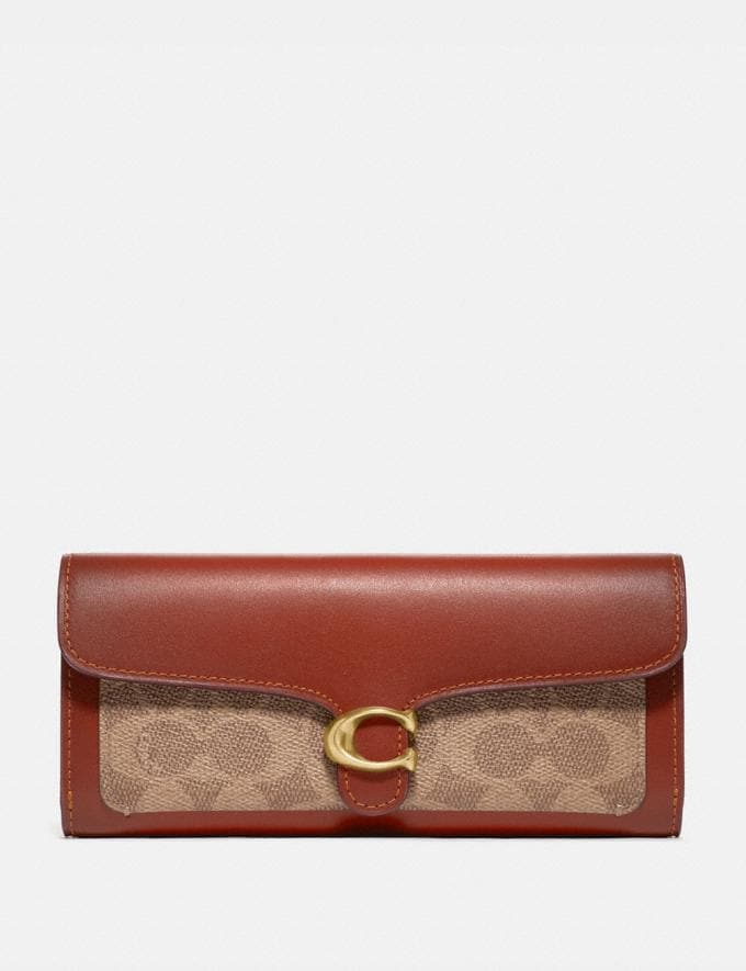 Coach Portefeuille Long Tabby En Toile Exclusive Color Block B4/Sable Rouille Femme Maroquinerie Grands portefeuilles