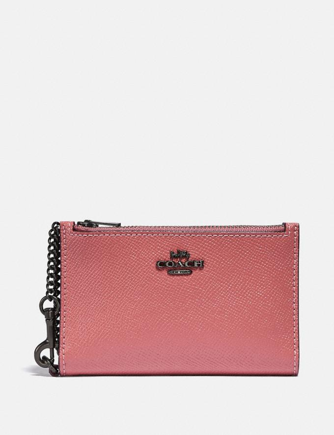 Coach Zip Chain Card Case in Colorblock Pewter/Vintage Pink Multi Gifts For Her Under £100
