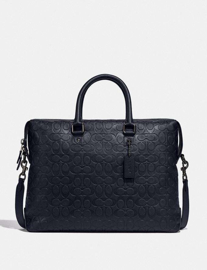 Coach Gotham Brief in Signature Leather Ji/Midnight Navy Men Bags Briefcases