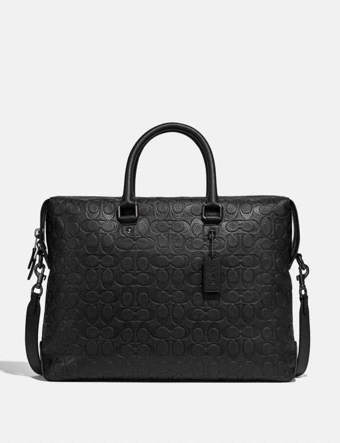 Coach Gotham Brief in Signature Leather Black Copper/Black Men Bags Briefcases