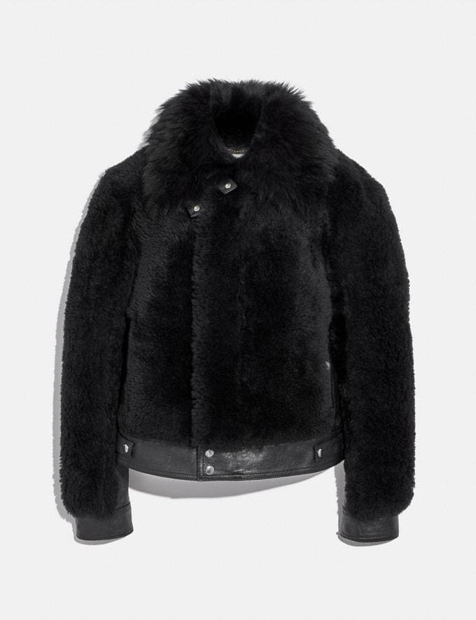 Coach Short Shearling Jacket Black Women Ready-to-Wear Jackets & Outerwear