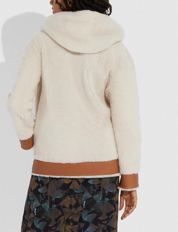 Coach Reversible Shearling Hoodie Cream/Pecan Women Ready-to-Wear Tops Alternate View 2