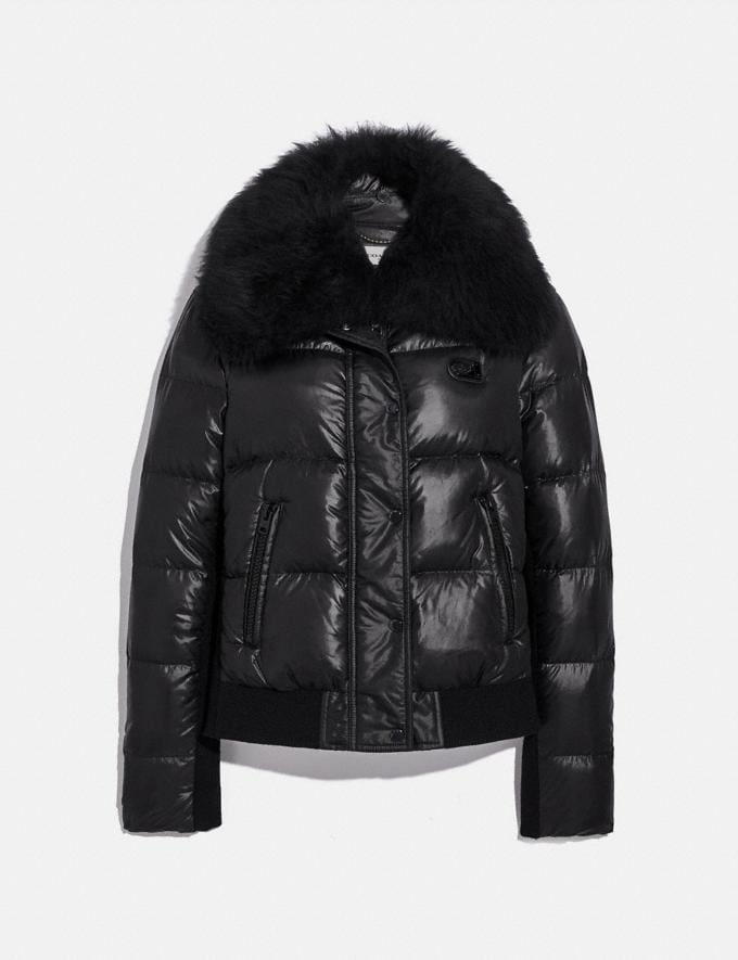 Coach Puffer Jacket With Shearling Oyster