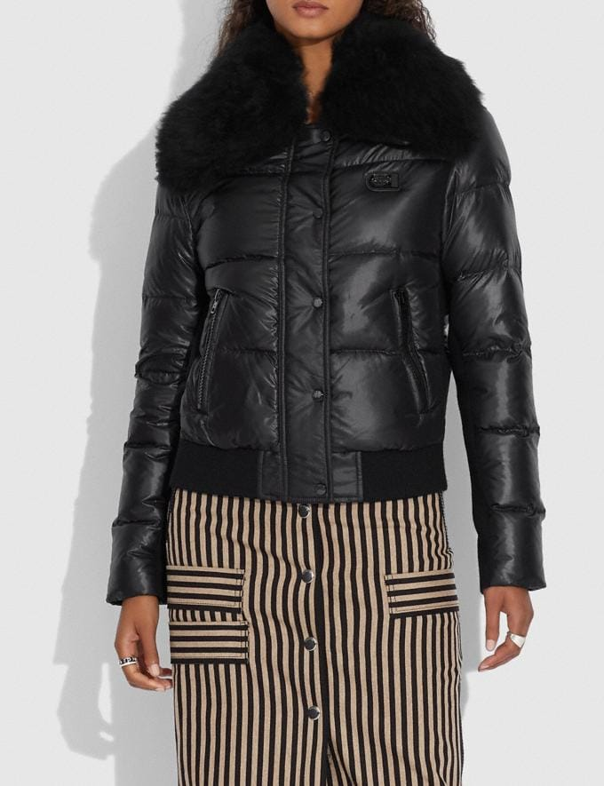Coach Puffer Jacket With Shearling Oyster  Alternate View 1