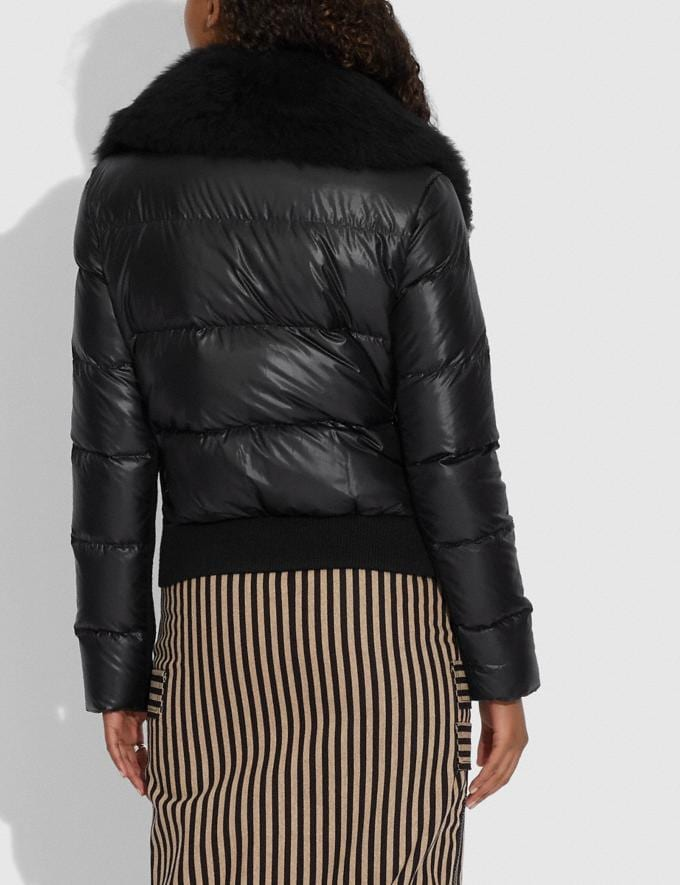 Coach Puffer Jacket With Shearling Black Women Ready-to-Wear Jackets & Outerwear Alternate View 2
