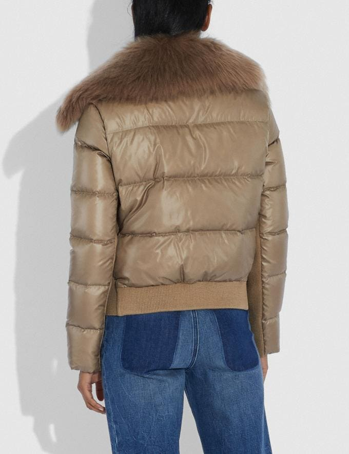 Coach Puffer Jacket With Shearling Oyster  Alternate View 2