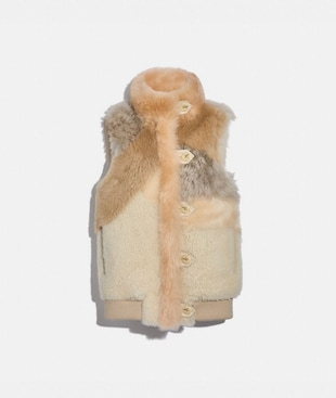 PIECED SHEARLING VEST
