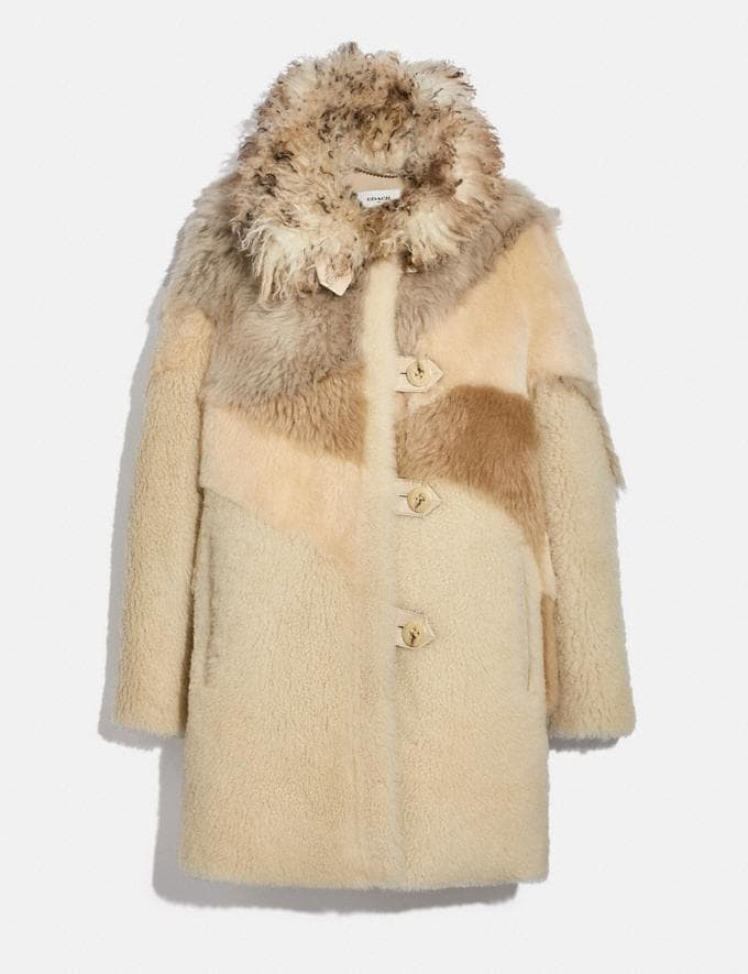 Coach Pieced Shearling Coat Light Multi Women Ready-to-Wear Jackets & Outerwear