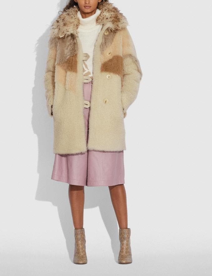 Coach Pieced Shearling Coat Light Multi Women Ready-to-Wear Jackets & Outerwear Alternate View 1
