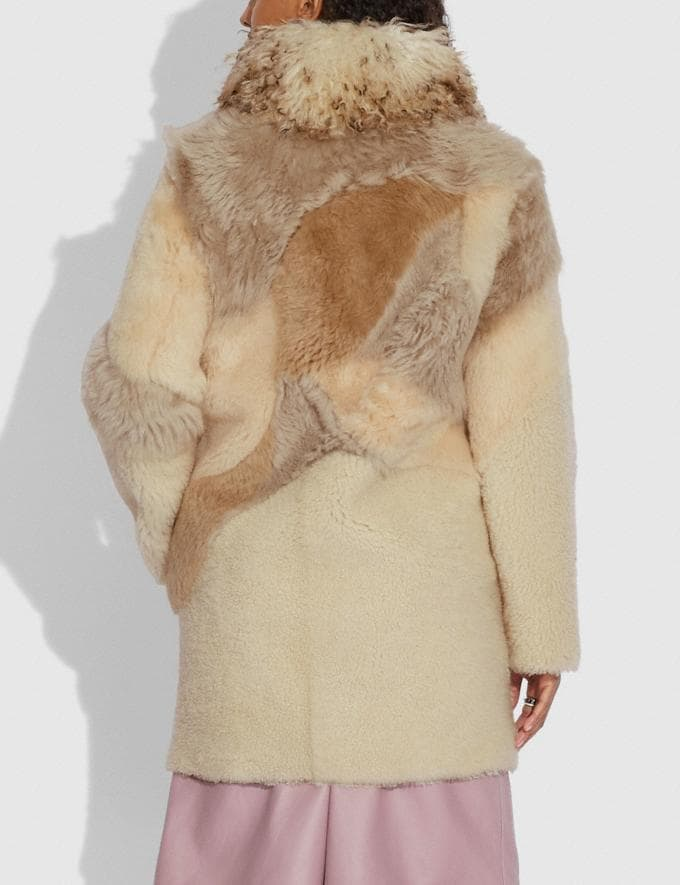Coach Pieced Shearling Coat Light Multi Women Ready-to-Wear Jackets & Outerwear Alternate View 2