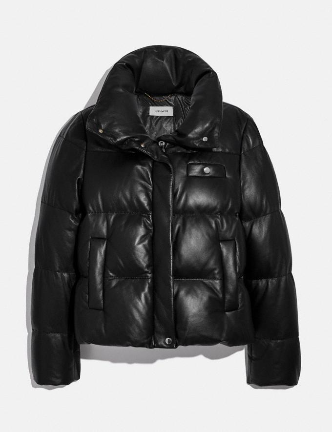 Coach Leather Puffer Blouson Mocha Women Ready-to-Wear Jackets & Outerwear