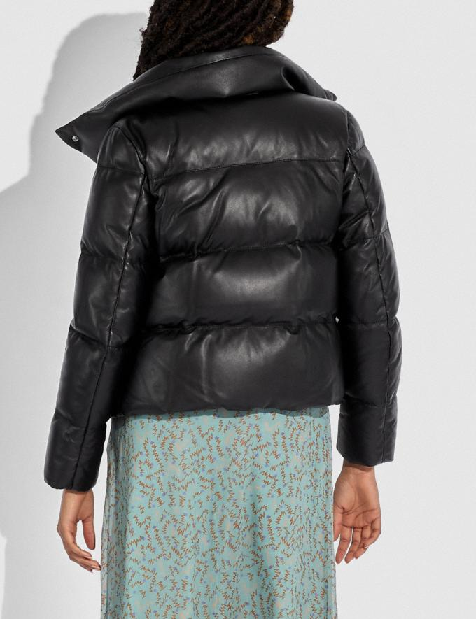 Coach Leather Puffer Blouson Mocha Women Ready-to-Wear Jackets & Outerwear Alternate View 2