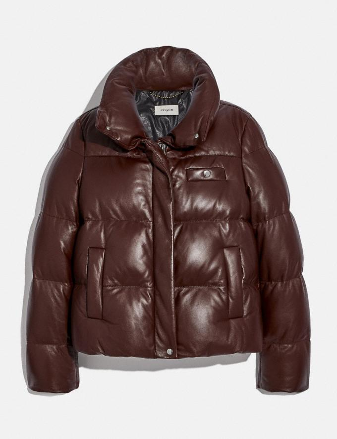 Coach Leather Puffer Blouson Mocha Women Ready-to-Wear Coats & Jackets