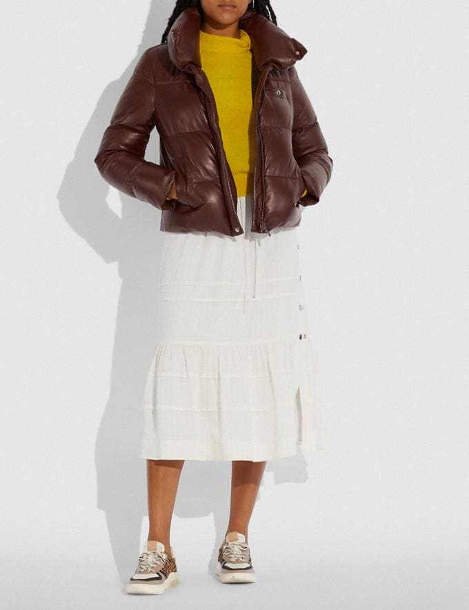 Coach Leather Puffer Blouson Mocha Women Ready-to-Wear Coats & Jackets Alternate View 1