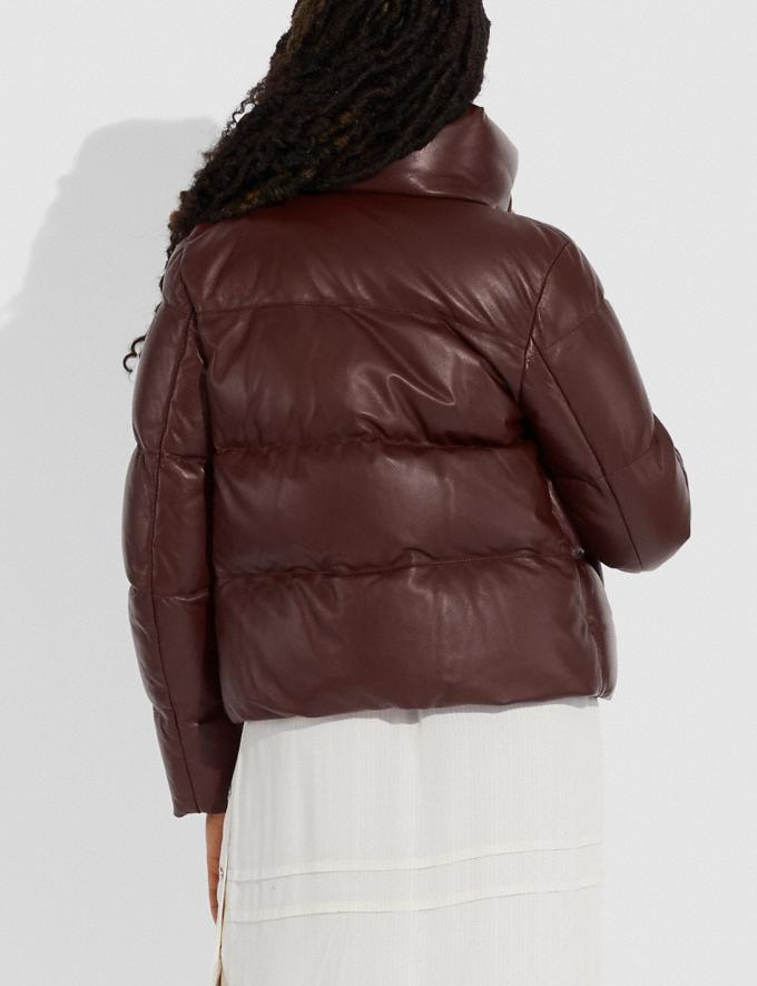 Coach Leather Puffer Blouson Mocha Women Ready-to-Wear Coats & Jackets Alternate View 2