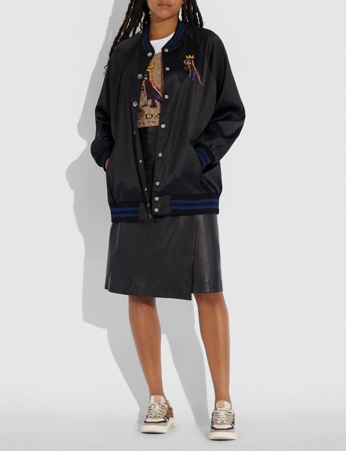 Coach Coach X Jean-Michel Basquiat Oversized Varsity Jacket Black Women Ready-to-Wear Jackets & Outerwear Alternate View 1