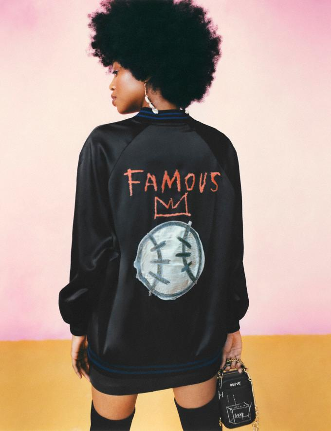 Coach Coach X Jean-Michel Basquiat Oversized Varsity Jacket Black Women Ready-to-Wear Jackets & Outerwear Alternate View 3