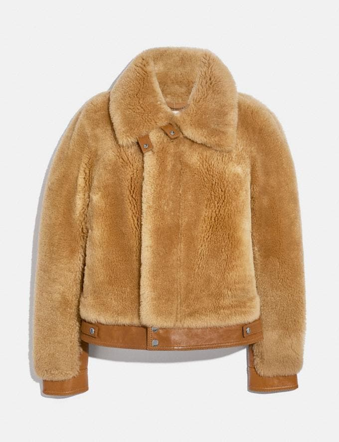 Coach Short Shearling Jacket Caramel Women Ready-to-Wear Jackets & Outerwear