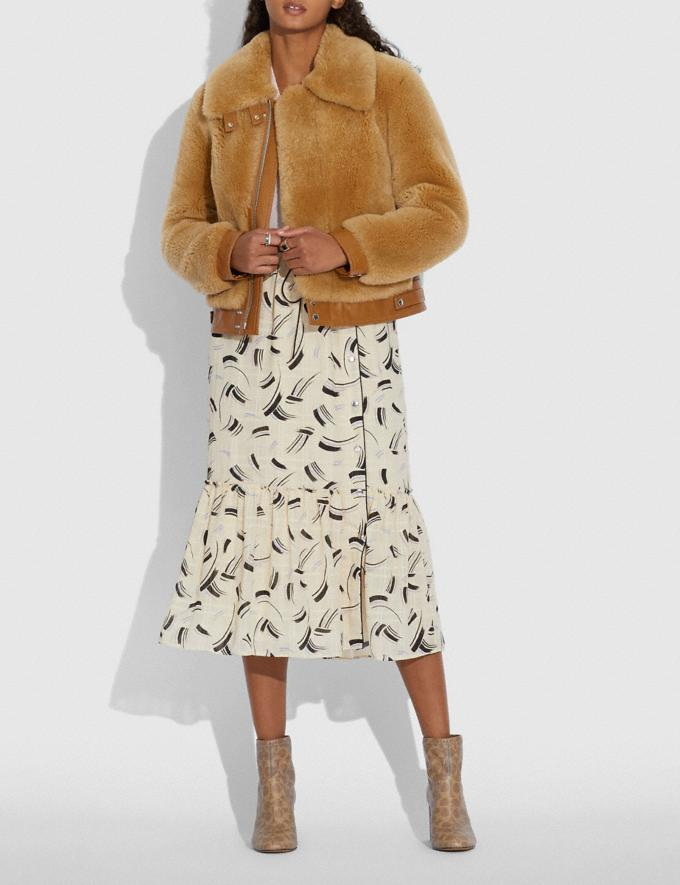 Coach Short Shearling Jacket Caramel Women Ready-to-Wear Jackets & Outerwear Alternate View 1