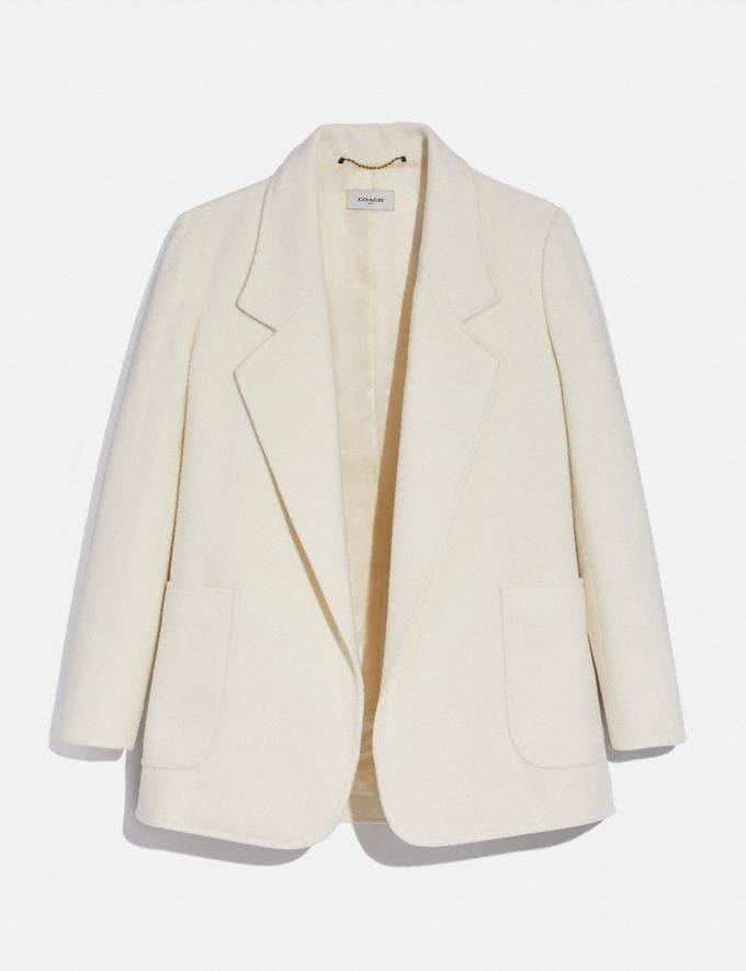 Coach Open Front Wool Blazer Cream Women Ready-to-Wear Coats & Jackets