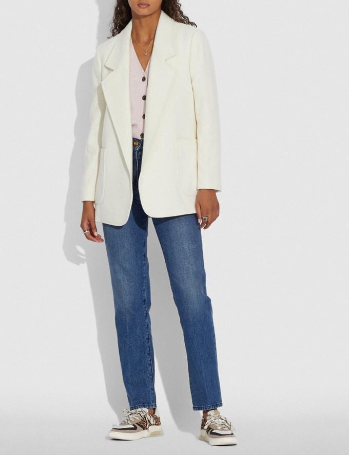 Coach Open Front Wool Blazer Cream Women Ready-to-Wear Coats & Jackets Alternate View 1