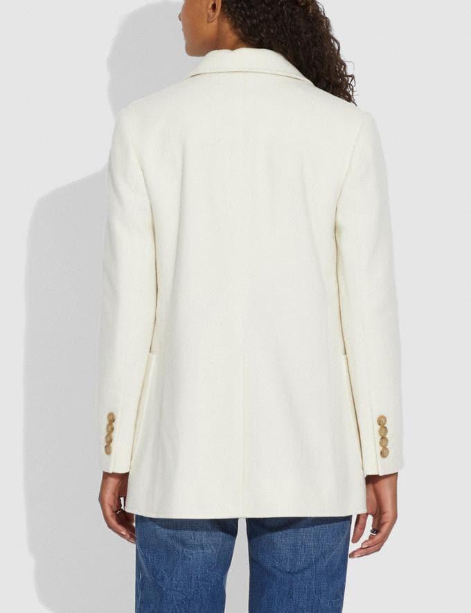 Coach Open Front Wool Blazer Cream Women Ready-to-Wear Coats & Jackets Alternate View 2