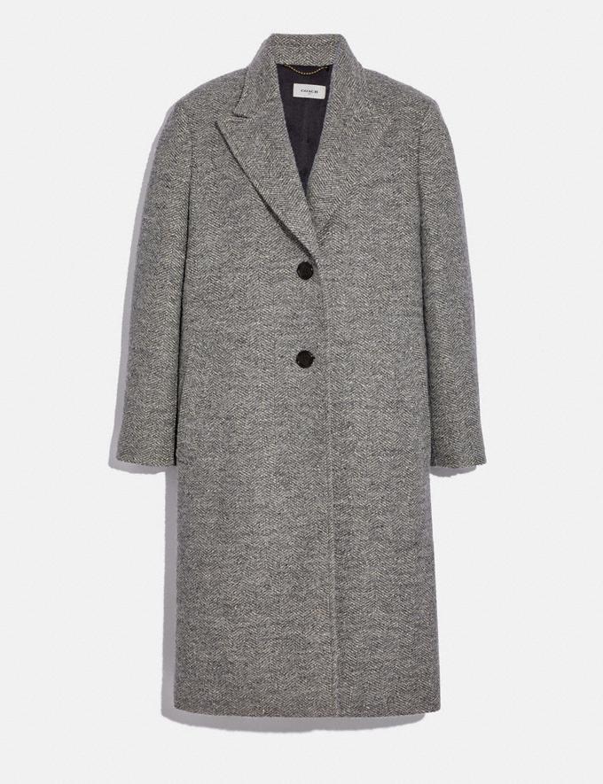 Coach Herringbone Oversized Coat Grey Women Ready-to-Wear Jackets & Outerwear