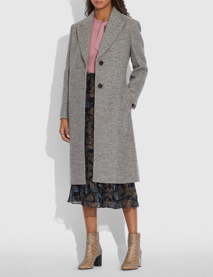 Coach Herringbone Oversized Coat Grey New Women's New Arrivals Ready-to-Wear Alternate View 1